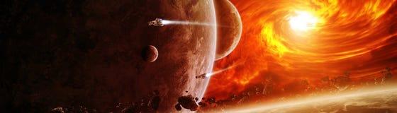 Sole d'esplosione nello spazio vicino agli elementi della rappresentazione del pianeta 3D di illustrazione vettoriale