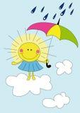 Sole del fumetto nella pioggia Fotografia Stock Libera da Diritti