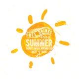 Sole dell'acquerello, siluetta piana del primo piano dell'icona dei raggi Fotografia Stock Libera da Diritti