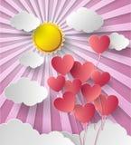 Sole dell'illustrazione di vettore con il cuore del pallone Fotografia Stock