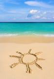 Sole dell'illustrazione sulla spiaggia Fotografia Stock Libera da Diritti