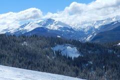 Sole della contea di Summit: Viste dalla ciotola di Montezuma, area dello sci del bacino di Arahapoe, Colorado fotografia stock libera da diritti