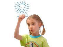 Sole della pittura della bambina isolato su bianco Fotografia Stock Libera da Diritti