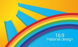 Sole di estate con le nuvole ed il fondo dell'arcobaleno stile del taglio della carta Immagine Stock