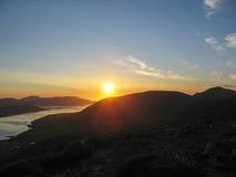 Sole di mezzanotte nelle isole di Lofoten Fotografie Stock