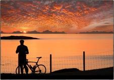 Sole di mezzanotte Norvegia Fotografia Stock