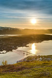 Sole di mezzanotte in Tromso, Norvegia fotografia stock libera da diritti