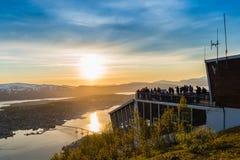 Sole di mezzanotte in Tromso, Norvegia immagine stock libera da diritti