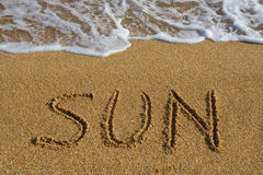 Sole di parola sulla spiaggia. Fotografie Stock