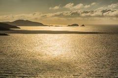 Sole di sera sopra Ile Ruse in Corsica Fotografie Stock