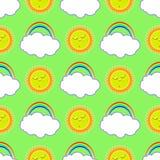 Sole di sonno e un arcobaleno con una nuvola Immagine Stock