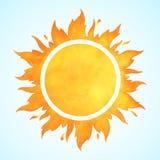 Sole di vettore dell'acquerello con la corona Fotografie Stock Libere da Diritti