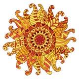 Sole disegnato a mano dello zentangle per l'anti pagina di coloritura di sforzo Fotografia Stock