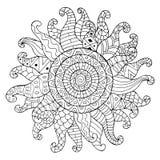 Sole disegnato a mano per l'anti pagina di coloritura di sforzo Immagini Stock Libere da Diritti
