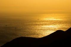 Sole dorato sul mare Fotografia Stock Libera da Diritti