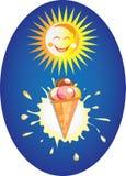 Sole e gelato divertenti. Fotografia Stock Libera da Diritti