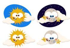 Sole e luna divertenti del fumetto Fotografie Stock