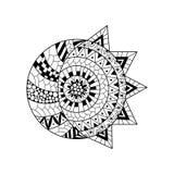 Sole e nuova luna disegnati a mano per l'anti pagina di coloritura di sforzo Immagini Stock