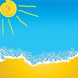 Sole e sabbia dell'onda del mare Immagini Stock