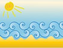 Sole e sabbia dell'onda del mare Fotografia Stock