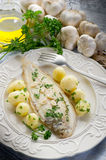 Sole fish with potatoes Royalty Free Stock Photos