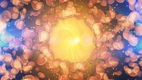 Sole giallo con le particelle marroni informi intorno Immagine Stock Libera da Diritti