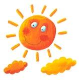 Sole giallo e nubi gialle Fotografia Stock Libera da Diritti