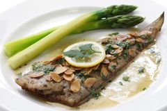 Sole meuniere. With almond sauce Stock Image