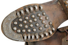 Sole of old military shoes with nails Royalty Free Stock Photo