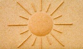 Sole in pietra su una parete Immagine Stock Libera da Diritti