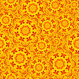 Sole rosso del fiore del modello di giallo senza cuciture della mandala Fotografia Stock Libera da Diritti