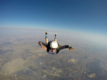 Sole skydiver in free fall Royalty Free Stock Image