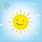 Sole sorridente che illumina il cielo durante il vettore di giorno Immagine Stock