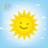 Sole sorridente che illumina il cielo durante il vettore di giorno Fotografie Stock Libere da Diritti