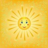 Sole sorridente del fumetto Immagini Stock