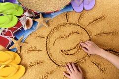 Sole sorridente della spiaggia del Messico Immagine Stock