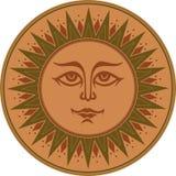 Sole sorridente occulto murale dell'ornamento etnico verde marrone d'annata Fotografia Stock