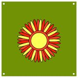 Sole stilizzato con i raggi rossi e gialli Shrovetide o Maslenitsa Festa nazionale russa degli elementi Carte educative o illustrazione vettoriale