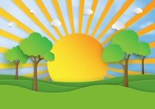 Sole su stile di arte del documento introduttivo del paesaggio della natura royalty illustrazione gratis