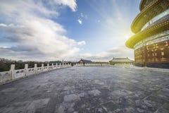 Sole sul tempio del cielo Fotografie Stock