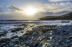 Sole tempestoso di pomeriggio al punto Looe Regno Unito del hannafore Fotografia Stock