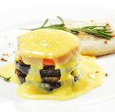 Sole and Vegetable with Yellow Sauce Royalty Free Stock Photography