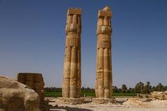 Soleb寺庙柱子在苏丹 免版税库存图片