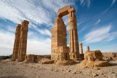 Egyptian Soleb Temple in the Nubian area of the Sudan stock images