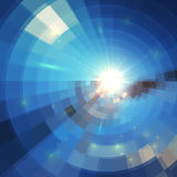 Soleil bleu d'hiver dans le vitrail de mosaïque Photographie stock libre de droits