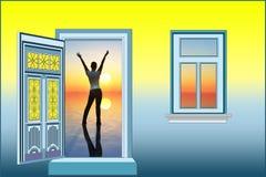 Soleil bonjour illustration libre de droits
