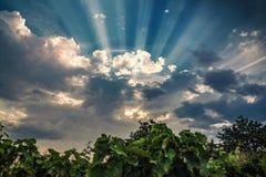 Soleil, ciel nuageux au-dessus de la vallée pierreuse Photo libre de droits
