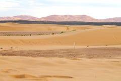 soleil dans le désert du sable et de la dune du Maroc Photos stock