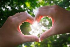 Soleil de coeur d'amour de mains photographie stock libre de droits