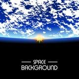 Soleil Levant au-dessus de la terre de planète Fond de l'espace illustration stock